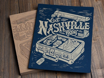 Visit Nashville Today - Block Print nashville design art illustration print strawcastle block print linoblock linocut americana music city