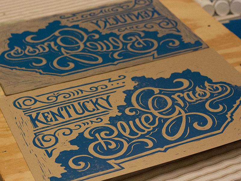 Kentucky Bluegrass - Block Print art design typography lettering block print linocut americana kentucky bluegrass