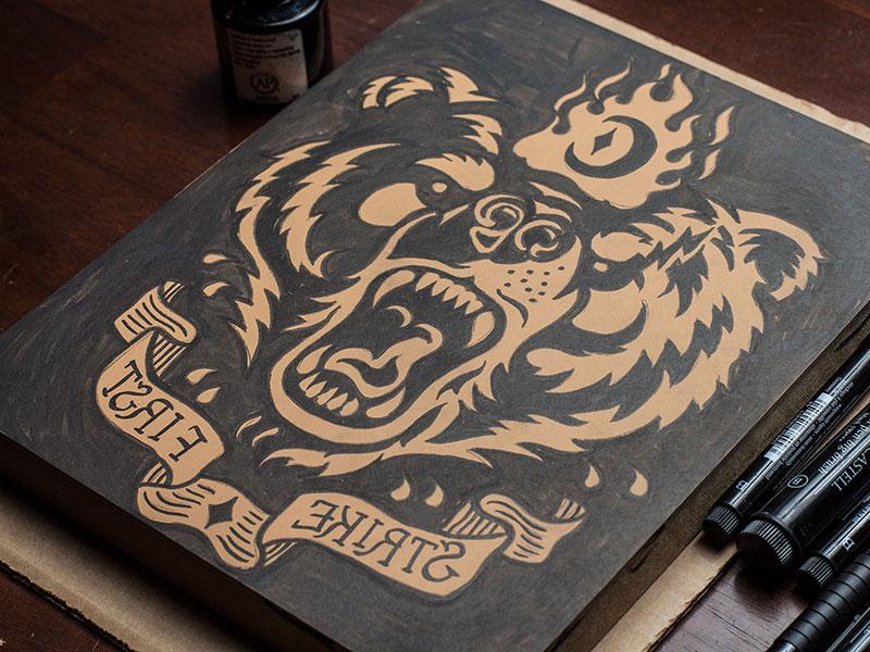 Strike First - Block Print art design block print linocut americana bear illustration print