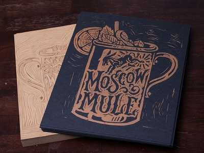 Moscow Mule - Block Print art design typography lettering block print linocut americana cocktail moscow mule