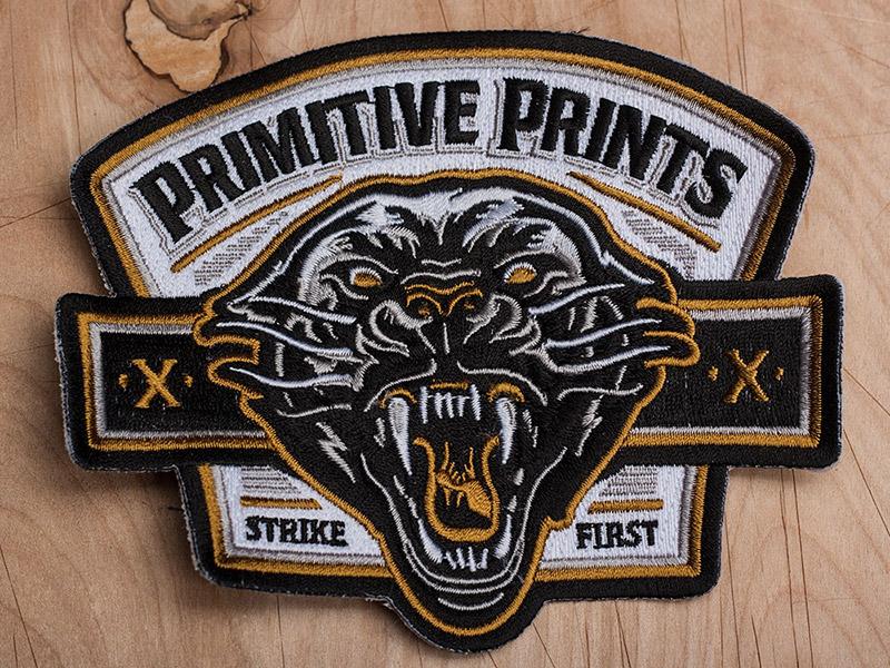 Primitive Prints - Strike First Patch art design patch embroidery americana panther illustration primitive prints