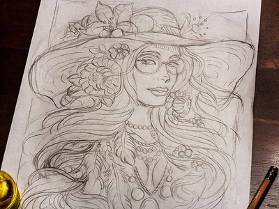 Flower Child Line Drawing : Bohemian flower child sketch by derrick castle dribbble