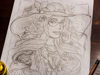 Bohemian Flower Child - Sketch