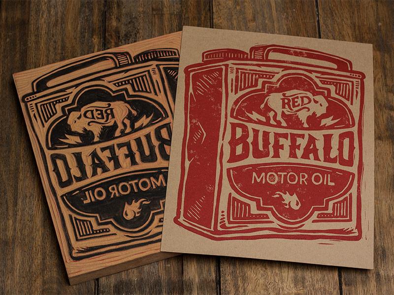 Red Buffalo Motor Oil - Block Print art design typography lettering block print linocut americana oil vintage buffalo
