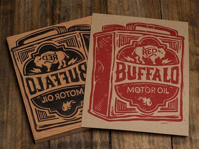 Red Buffalo Motor Oil - Block Print