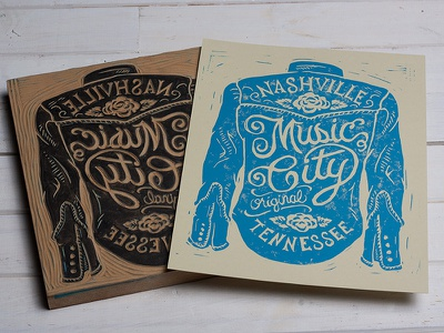 Music City - Block Print art design typography lettering block print linocut americana music city nashville tennessee