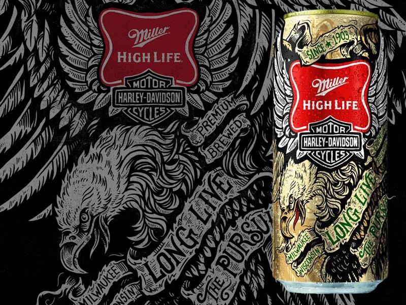 Miller High Life & Harley Davidson art design illustration typography miller high life harley-davidson iconic americana beer packaging
