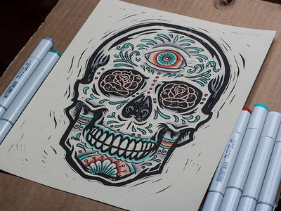 All Seeing - Sugar Skull - Block Print art design illustration block print linocut cinco de mayo sugar skull