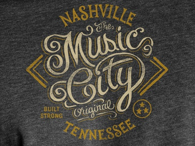 Music City  - Tee Design art design typography lettering americana music city nashville tennessee