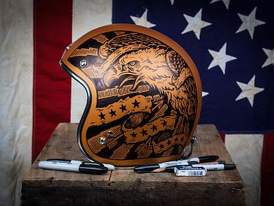 Americana - Vintage Biker Helmet art design illustration sharpie helmet biker motorcycle vintage americana eagle
