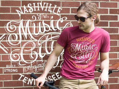 Music City - Nashville Tennessee art design typography lettering tee americana music city nashville tennessee