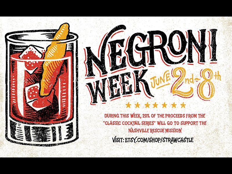 Negroni Week  art design linocut print negroni cocktail imbibe negroni week