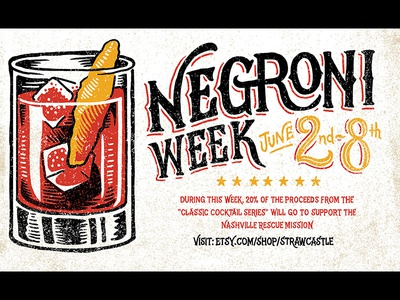 Negroni Week  art design linocut print negroni cocktail imbibe negroni week