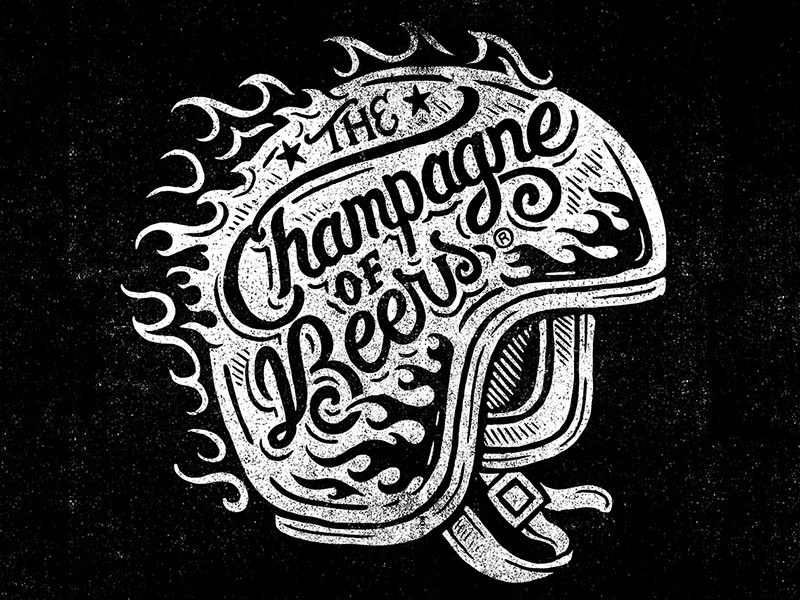 The Champagne of Beers - Woodblock miller high life champagne of beers woodblock block print lettering vintage biker helmet illustration