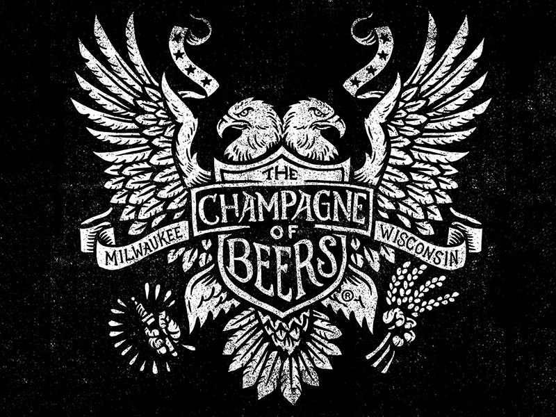 Champagne of Beers - Eagle Woodblock champagne of beers miller high life beer woodblock block print eagle crest
