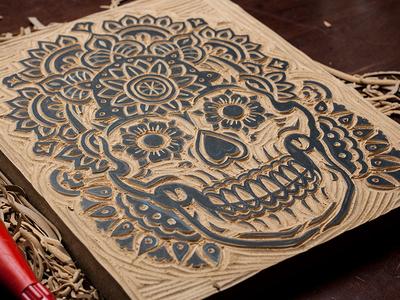 The Mandala Skull - Block Print art design illustration sugar skull mandala skull mandala skull linocut block print