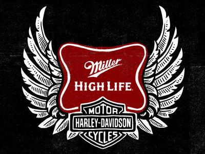 Miller High Life - Harley Davidson art design illustration video miller high life amaericana eagle