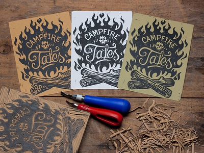 Campire Tales - Block Print art design illustration linocut block print americana campfire tales stories ghosts