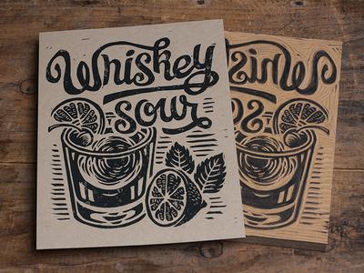 Whiskey Sour - Block Print