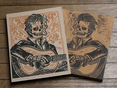 Ring of Fire - Block Print art design illustration skull linocut block print americana folk cash ring of fire outlaw
