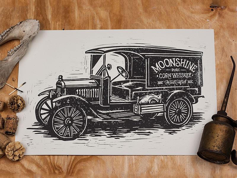 Moonshiner - Block Print art design illustration linocut block print americana moonshine moonshiner vintage truck bootlegger