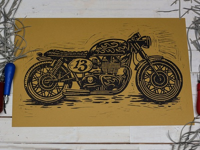 Unlucky No. 13 Cafe Racer - Block Print art design illustration linocut block print americana cafe racer moto motorcycle kustom kulture