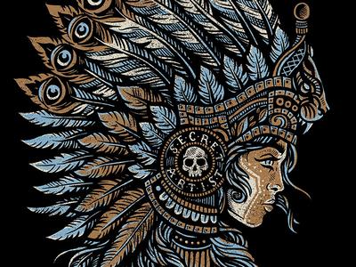 Mayan Princess - Secret Artist art design illustration tee mayan princess tribal native headdress secret artist
