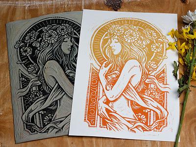 Dame De Fleurs - Block Print art design illustration block print linocut linoprint dame de fleurs art nouveau
