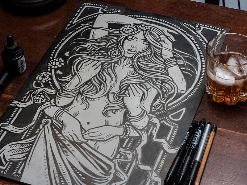 Psychedelic Beauty art design illustration block print linocut linoprint psychedelic art nouveau shiva beauty