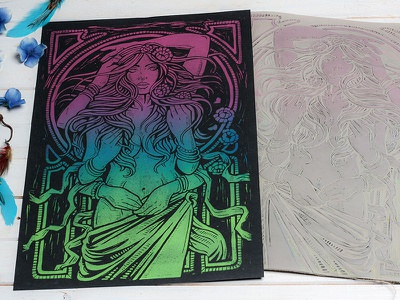 Dame Terres Electrique - Psychedelic Blend Block Print art design illustration block print linocut linoprint dame terres electrique art nouveau psychedelic