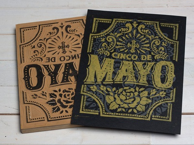 Cinco De Mayo - Block print typpgraphy lettering cinco de mayo linoprint linocut block print illustration design art