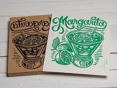 Margarita- Block Print typpgraphy lettering cocktail margarita linoprint linocut block print illustration design art