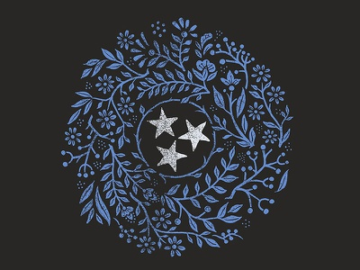 Tennessee - The Tristar State americana ornamental tristar tennessee floral illustration design art