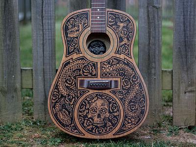 Acoustic Guitar - Sharpie Art saint anejo mexican nashville snake skull acoustic guitar sharpie illustration design art