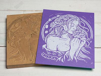 Spring Dreams - Block Print beauty art nouveau spring dreams linoprint linocut block print illustration design art