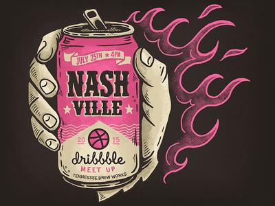 Nashville Dribbble Meetup - July 25th tennessee brew works beer nashville meetup illustration design art