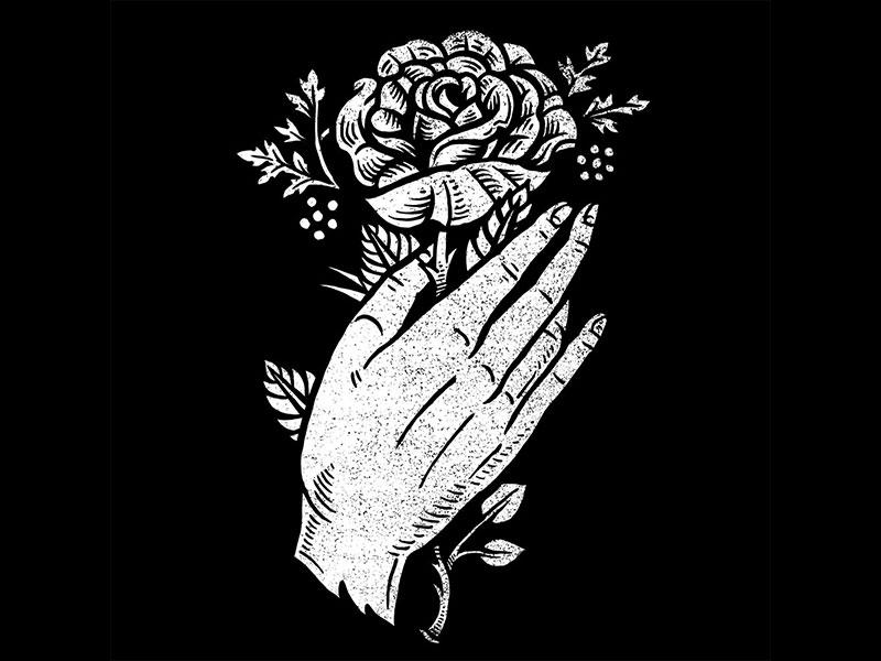 Hand rose art dribbble