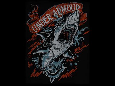 Shark Attack - Under Armour t-shirt tee apparel shark attack shark under armour illustration design art