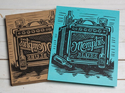 Memphis Blues - Block Print amp blues music memphis typography lettering linoprint linocut block print illustration design art