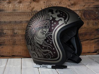 Midnight Hunteresss vintage americana helmet motorcycle moto sharpie illustration design art