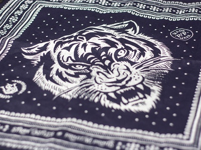 The Fierce - Blue Bandana americana biker tiger fierce bandana illustration design art