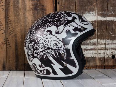 Electric Predators - Motorcycle Helmet predators electric eagle americana vintage helmet motorcycle illustration design art