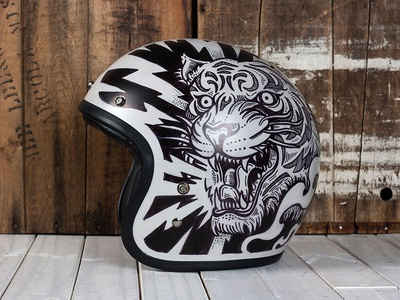 Electric Predators - Motorcycle Helmet Flip side electric predators sharpie helmet motorcycle americana illustration design art