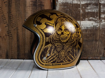 Virgin Mary - Custom Motorcycle Helmet skeleton skull virgin mary sharpie helmet motorcycle americana illustration design art