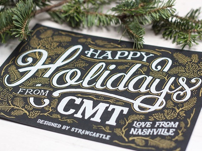 Hoppy Holidays - Postcard card happy holidays nashville cmt typography lettering illustration design art