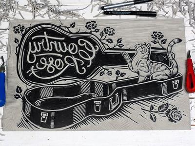 Country Rose - Linocut roses cat guitar typography lettering country rose linoprint linocut block print illustration design art