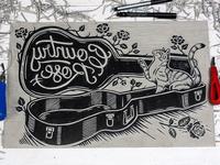 Country Rose - Linocut