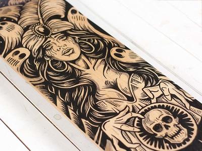 Fortune Teller - Skate deck ghosts spirits crystal ball fortune teller skate deck skate illustration design art