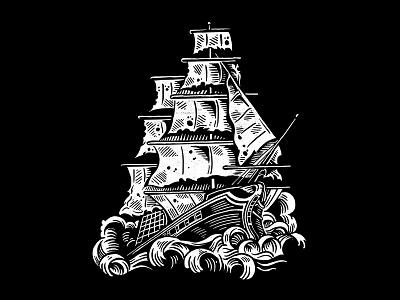 Clipper Ship - Nautical Flash americana ship sea clipper nautical tattoo flash clip art illustration design art