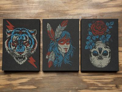 New 5x7 Prints roses skull feather native tiger biker tattoo americana illustration design art